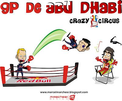 Себастьян Феттель выкидывает с ринга Марка Уэббера который летит в Фернандо Алонсо на Гран-при Абу-Даби 2010 Crazy Circus Marchesi Design