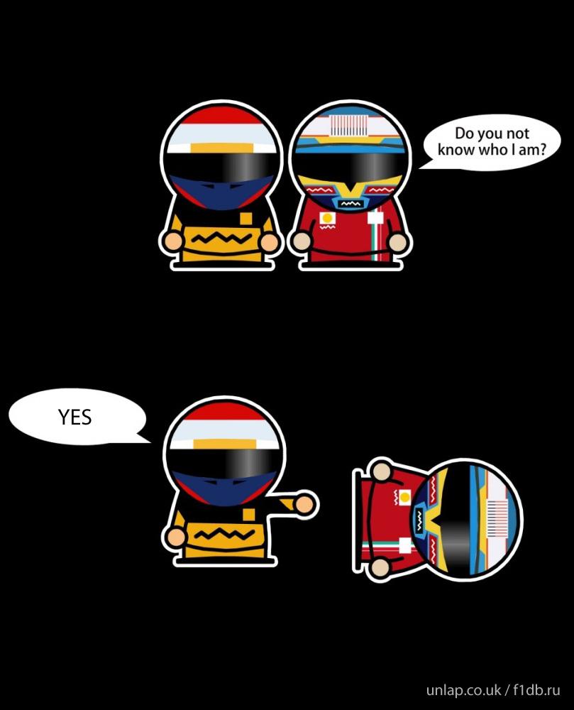 комикс Unlap-f1db про Виталия Петрова и Фернандо Алонсо на Гран-при Абу-Даби 2010