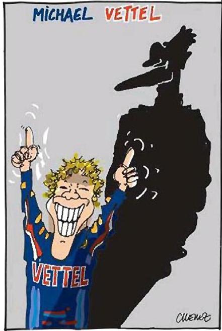 карикатура Себастьяна Феттеля и Михаэля Шумахера
