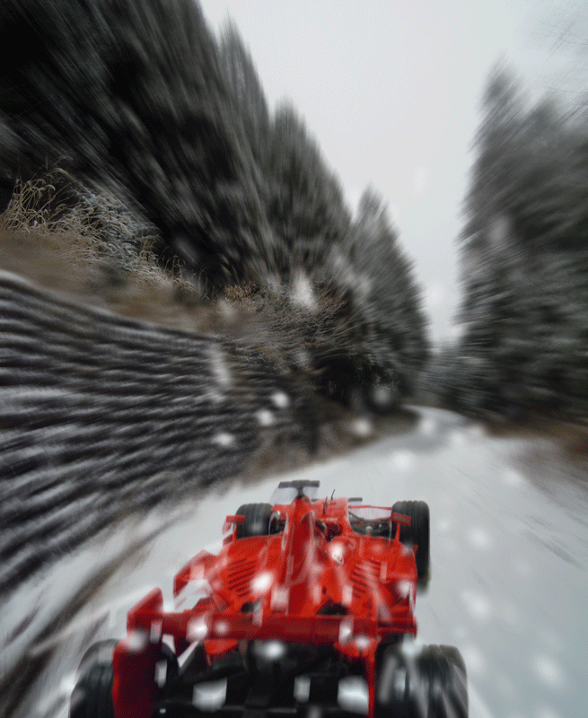 болид в снегу