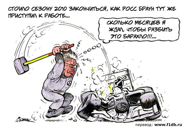 Росс Браун разбивает машину Mercedes GP 2010 года