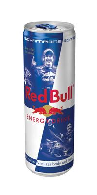 чемпионская банка Red Bull с Себастьяном Феттелем и Марком Уэббером