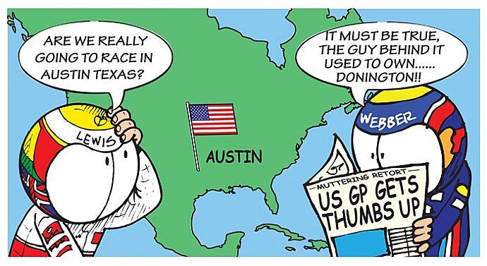 комикс Jim Bamber про Гран-при США в Остине