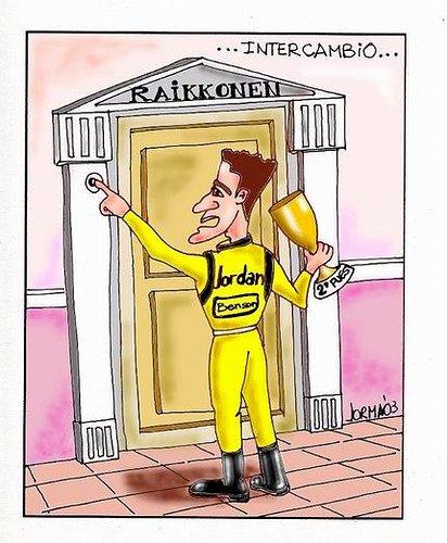 карикатура Джанкарло Физикелла пришел к Кими Райкконену за своим призом