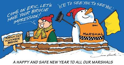 новогодний комикс Jim Bamber про безопасность маршалов