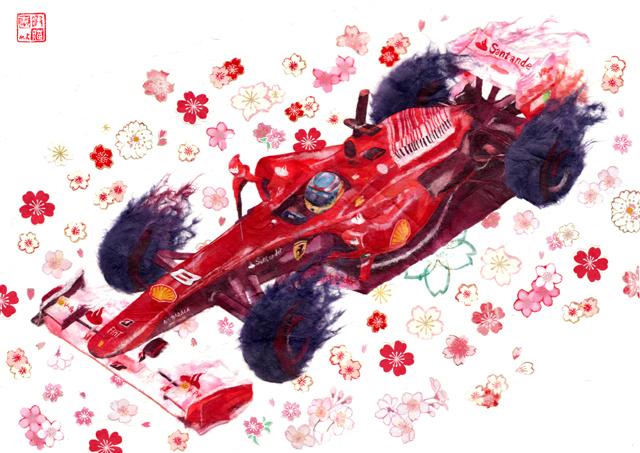 рисунок Фернандо Алонсо Ferrari