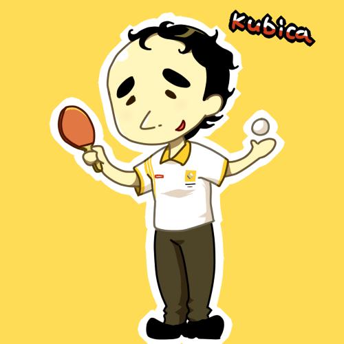 Роберт Кубица играет в пинг-понг