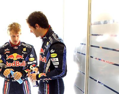 Себастьян Феттель и Марк Уэббер перед гонкой на Гран-при Абу-Даби 2010