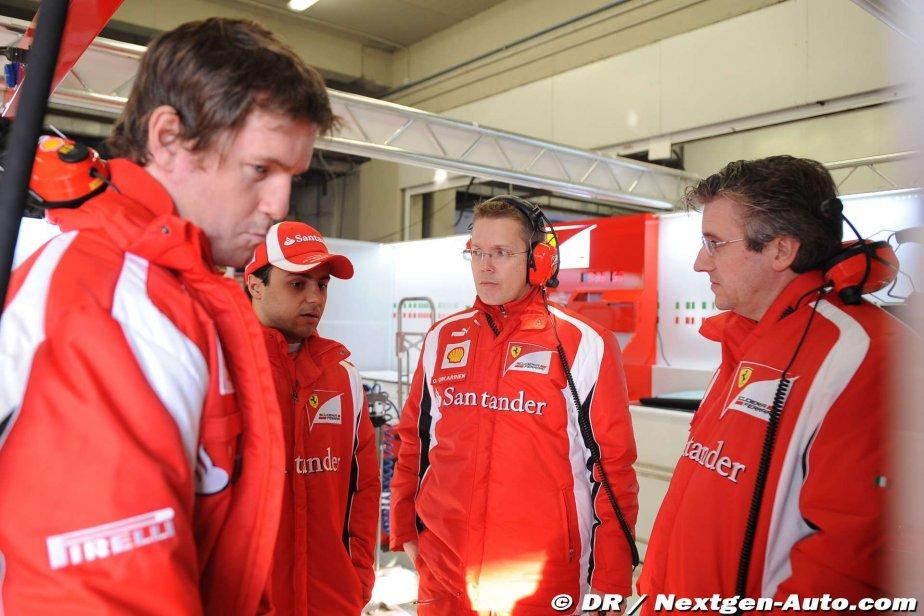 Роб Смедли и Фелипе Масса вместе с инженерами Ferrari анализируют результаты