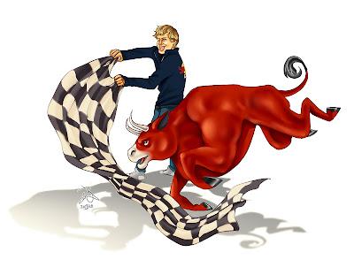 карикатура Yelaeve Себастьян Феттель укрощает Red Bull