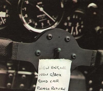 послание на руле Джону Уотсону от механиков Brabham 1977 год