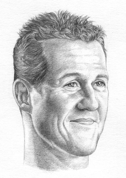 черно-белый рисунок Михаэля Шумахера