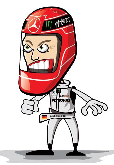 карикатура Михаэль Шумахер в шлеме 2011 Crazy Circus