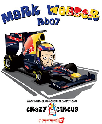 Марк Уэббер Red Bull RB7 2011 карикатура Crazy Circus Marchesi Design