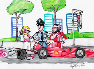 комикс Льюис Хэмилтон на McLaren въехал в Ferrari Кими Райкконена на светофоре Гран-при Канады 2008