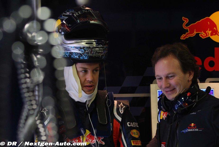Себастьян Феттель и Кристиан Хорнер на предсезонных тестах 2011 в Барселоне