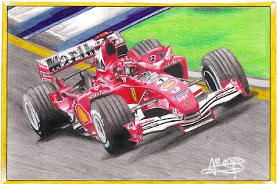 рисунок Михаэль Шумахер Ferrari на Гран-при Австралии 2005