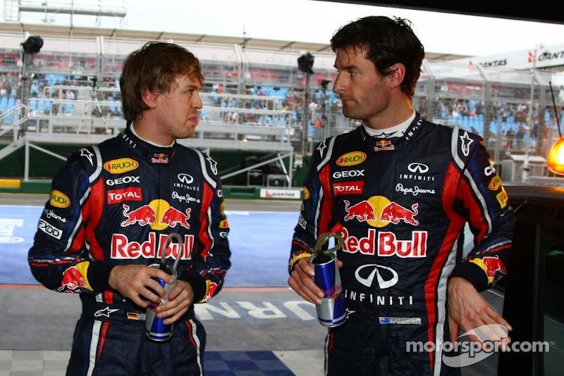 Себастьян Феттель и Марк Уэббер в боксах лицом к лицу на Гран-при Австралии 2011