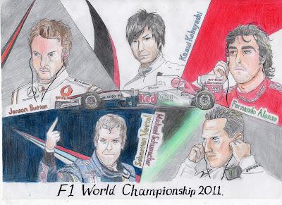 рисунок F1 World Championship 2011 Дженсон Баттон Камуи Кобаяши Фернандо Алонсо Себастьян Феттель Михаэль Шумахер McLaren Sauber Ferrari Red Bull Mercedes GP