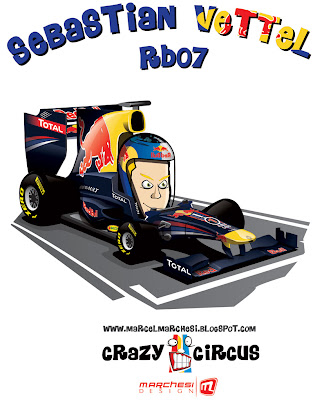 Себастьян Феттель Red Bull RB07 2011 карикатура Crazy Circus Marchesi Design