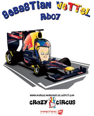 Себастьян Феттель Red Bull RB07 2011 карикатура Crazy Circus Marchesi Design