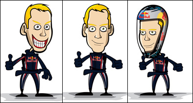 три портретные карикатуры Себастьяна Феттеля в сезоне 2011 от Crazy Circus Marchesi Design