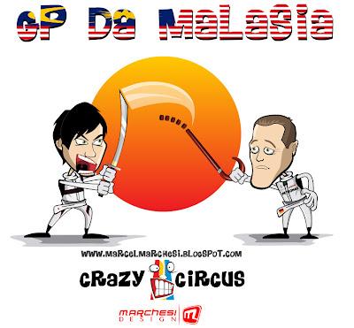 непримиримые соперники на Гран-при Малайзии 2011 Камуи Кобаяши и Михаэль Шумахер скрещивают шпаги карикатура Marchesi Design