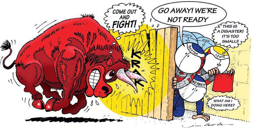 комикс Jim Bamber перед Гран-при Китая 2011 Red Bull готовится разгромить всех