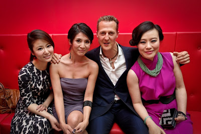Actress Ruby Lin, actress Charlie Leung, driver Michael Schumacher and actress Vivian Wu at the launch for the Navyboot Msone Collection launch at MoCa
