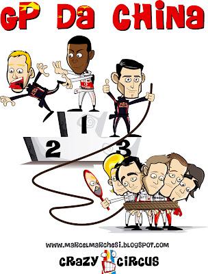 Льюис Хэмилтон побеждает Себастьяна Феттеля а Марк Уэббер опережает всех остальных соперников и приезжает на подиум Гран-при Китая 2011 Crazy Circus Marchesi Design