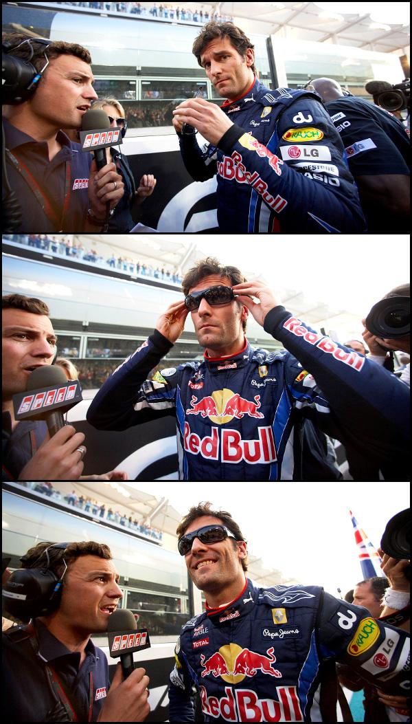 Марк Уэббер одевает очки и дает интервью Speed