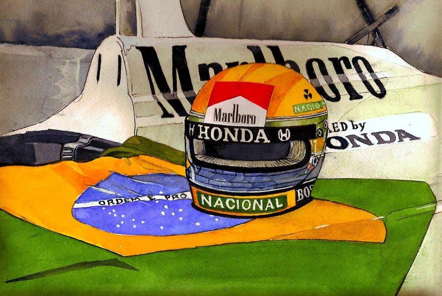 шлем Айртона Сенны и бразильский флаг на болиде McLaren
