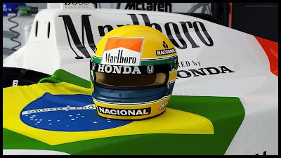 шлем Айртона Сенны и бразильский флаг на болиде McLaren рендер 3DSMax+Vray