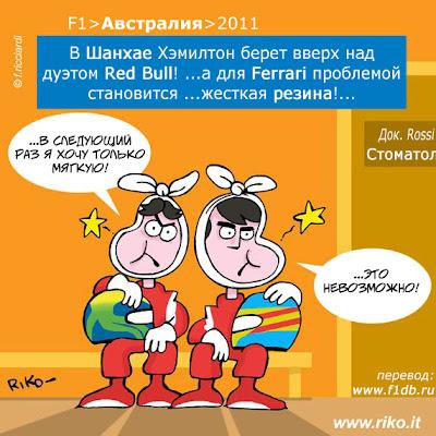 Фелипе Масса и Фернандо Алонсо испытывают проблемы с резиной на Pirelli наГран-при Китая 2011 комикс Riko