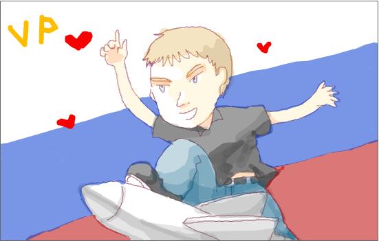 рисунок Uli Виталий Петров на ракете на фоне российского флага