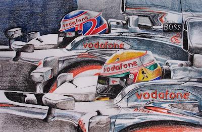 рисунок британские гонщики McLaren Льюис Хэмилтон и Дженсон Баттон