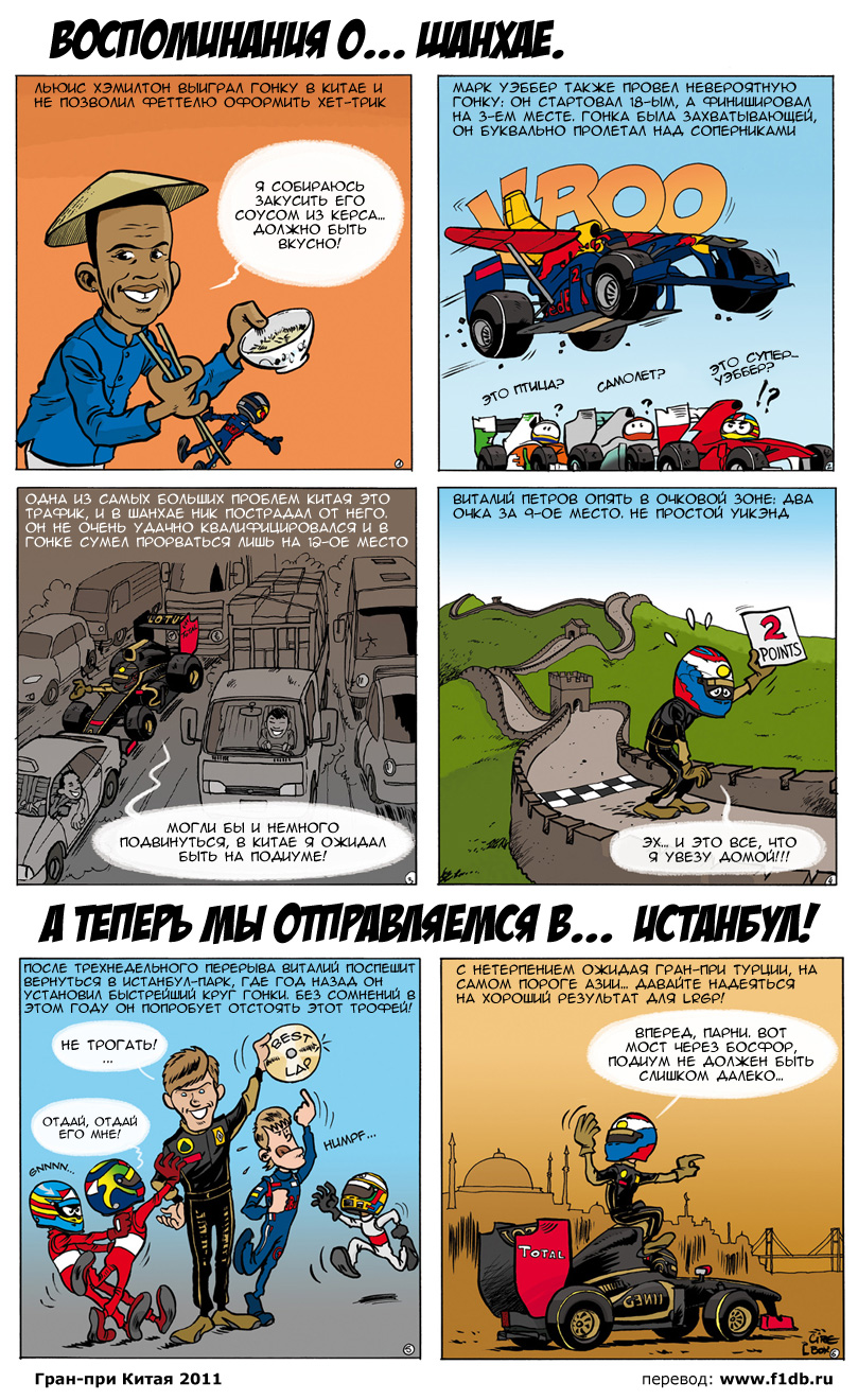 комикс Lotus Renaut GP по Гран-при Китая 2011