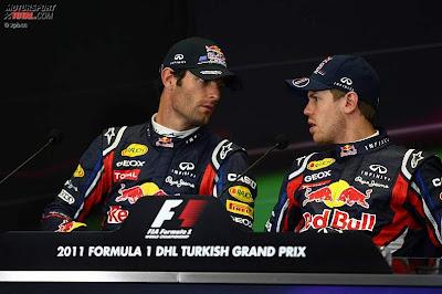 Марк Уэббер и Себастьян Феттель на пресс-конференции Истамбул-Парка на Гран-при Турции 2011
