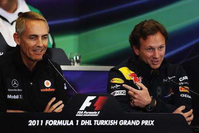 Мартин Уитмарш и Кристиан Хорнер на пресс-конференции Гран-при Турции 2011