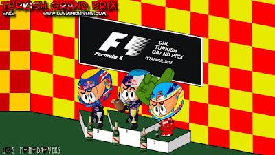 Марк Уэббер Себастьян Феттель Фернандо Алонсо на подиуме Истамбула на Гран-при Турции 2011 Los MiniDrivers