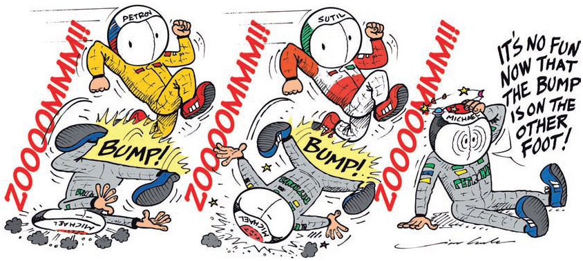 Виталий Петров и Адриан Сутиль обижают Михаэля Шумахера на Гран-при Турции 2011 комикс Jim Bamber