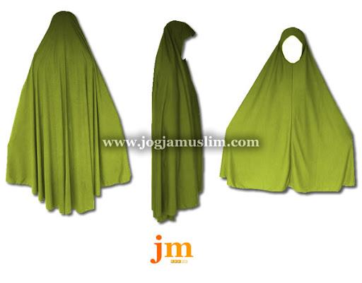 Jual Murah Pakaian Muslim Jilbab Dewasa Bahan Kaos Warna Hijau Lumut