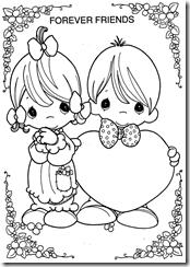 Dibujos para colorear de los precious moments del amor y la amistad