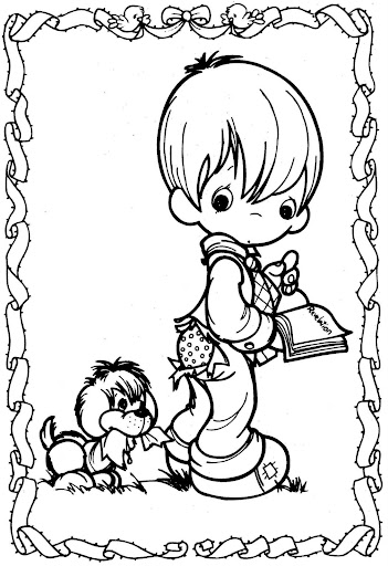 Child and dog – precious moments coloring pages