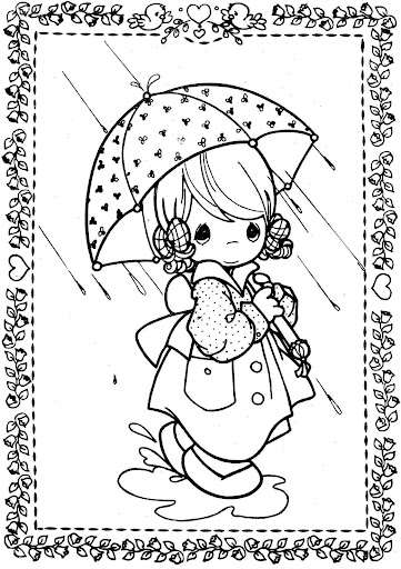 Rainy day - girl with umbrella – Precious moments coloring pages