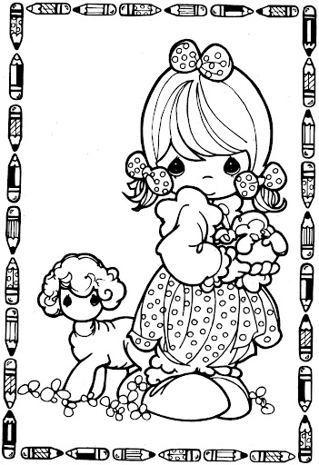 girl and sheep  – precious moments coloring pages