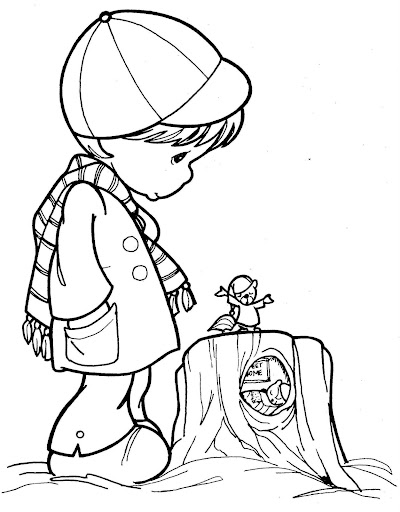 Child with warm clothing – precious moments coloring pages