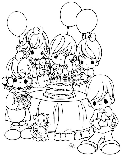 Birthday precious moments coloring pages