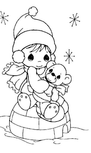 Girl in winter – precious moments coloring pages
