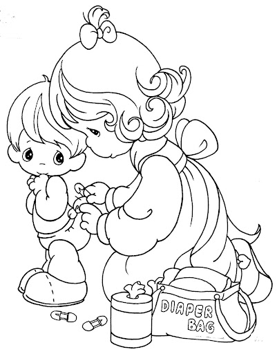 Mom changing baby's diaper, coloring pages